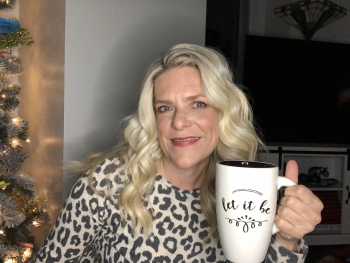 Dr. Holly with Let It Be coffee mug